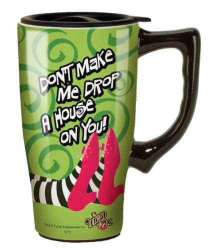 (Wizard Of Oz Drop a House on You Travel Mug, Green )