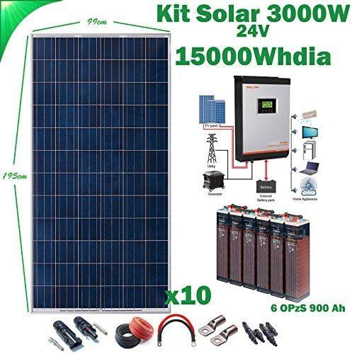 Kit Solar 24v 3000w/15000w día Batería 6OPzS 900Ah Inversor Multifunción 3kva Regulador MPPT 60A
