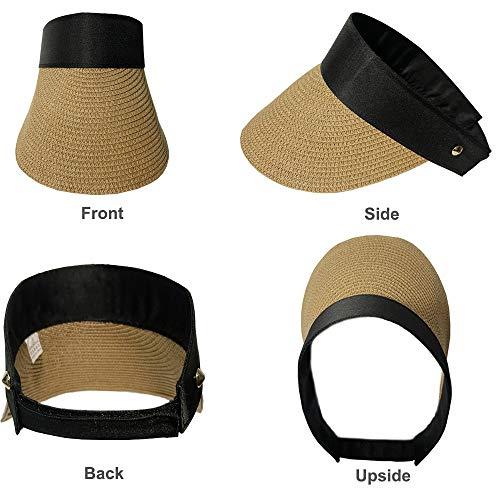 Women Straw Sun Hat - Sun Visor Hats Wide Brim Beach Hat Foldable Fedora Hat Roll up Floppy Summer UV Hat Caps (Khaki A)