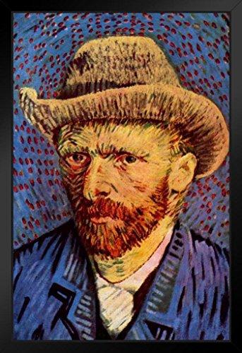 Vincent Van Gogh Self-Portrait with Grey Felt Hat II Black Wood Framed Art Poster 14x20 (Vincent Van Gogh Self Portrait With Felt Hat)
