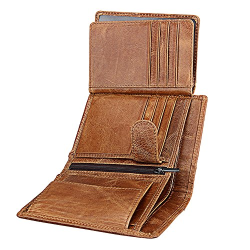 8395eebe3ab6 Wallet for Men With Coin Pocket RFID Leather Card Holder Big Trifold 3 ID  Windows