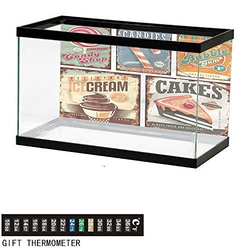 (Suchashome Fish Tank Backdrop Vintage,50s Theme Candy Shop,Aquarium Background,48