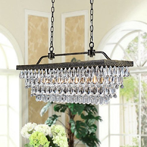 PPM IMPORTS Antique Copper 4-light Rectangular Crystal Ch...