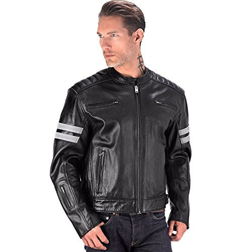 Viking Cycle Bloodaxe Premium Grade Cowhide Leather Motorcycle Jacket for Men (3XL) (3xl Leather Motorcycle Jacket)