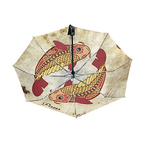 - Franzibla Constellation Zodiac Sign Pisces UPF 50+ Anti-UV Parasol Waterproof Windproof Reverse 3 Folds Auto Open Close Lightweight Umbrella