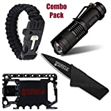 Ultimate Combo Pack Paracord Bracelet with Fire Starter, 37-in-1 Credit Card Wallet Ninja