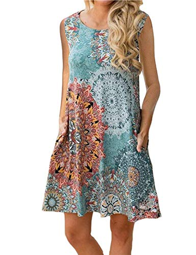 - Tanst Casual Summer Dresses for Women Sleeveless Beach Floral Flattering Bohemian Fashion Style Danask Tunic Cute Pockets Versatile Flower S