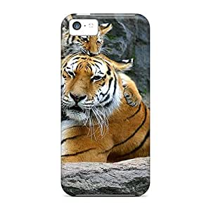 Hot Tpye Tiger Baby With Tiger Mother Case Cover For Iphone 5c wangjiang maoyi
