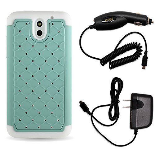 For HTC Desire 610 Phone by CoverON Studded Diamond Bling Hard & Soft Case Bundle Teal / White Rhinestone Dual Layer Hybrid Cover + Home / Car Charger