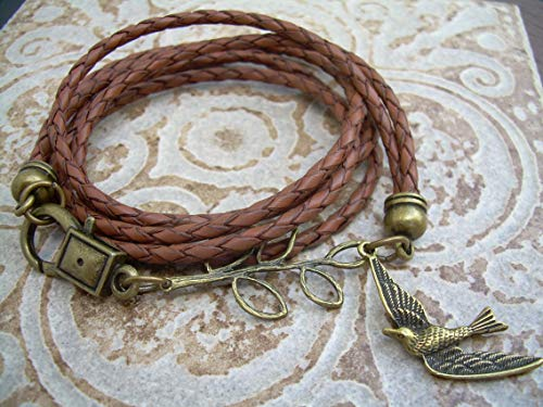 Ladies Antique Saddle - Handmade Womens Leather Bracelet, Saddle Brown, Antique Bronze, Double Strands, Triple Wrap, Leather Bracelet, Womens Jewelry, Swallows, Steampunk