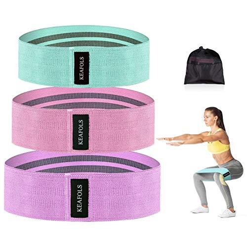 KEAFOLS Weerstandsbanden, 3-delige set, antislip-trainingsbanden voor benen, stof, trainingsbanden, 3 weerstandsniveaus…