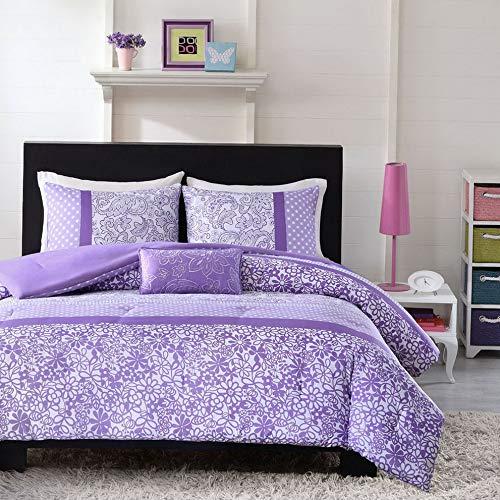 Kaputar Beautiful Modern Purple Lavender Floral Polka DOT Girls Comforter Set Pillow | Model CMFRTRSTS - 1783 | Twin Extra - Bed Donut Toile
