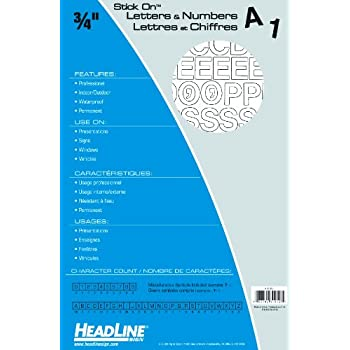 Headline Sign 31912 Stick-On Vinyl Letters and Numbers, White, 3/4-Inch