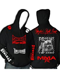 Black MMA Hoody Red White Logos Top Dawg Pit Bull Tapout MMA UFC