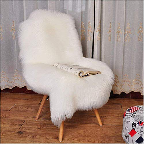 YJ.GWL Super Soft White Fluffy Faux Fur Sheepskin Rug for Bedroom Sofa Seat Cover Living Room Shaggy Bedside Area Rugs, Irregular 2' x 3' (White Blanket Furry)
