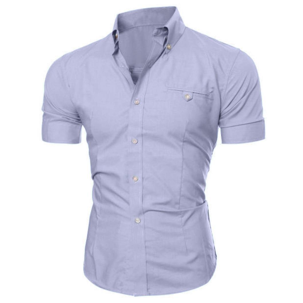 Yoyorule Men Fashion Luxury Business Stylish Slim Fit Short Sleeve Casual Shirt