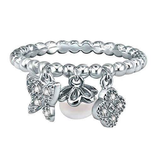 AoedeJ Butterfly and Four Leaf Clover Freshwater Pearl Dangle Beaded Ring 925 Sterling Silver with CZ Ring (8)