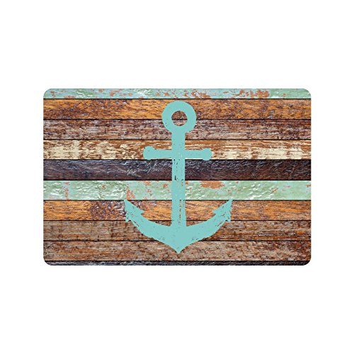 InterestPrint Nautical Anchor Rustic Old Barn Wood Non-Slip Indoor And Outdoor Door Mat Rug Home Decor, Entrance Rug Floor Mats Rubber Backing, 23.6