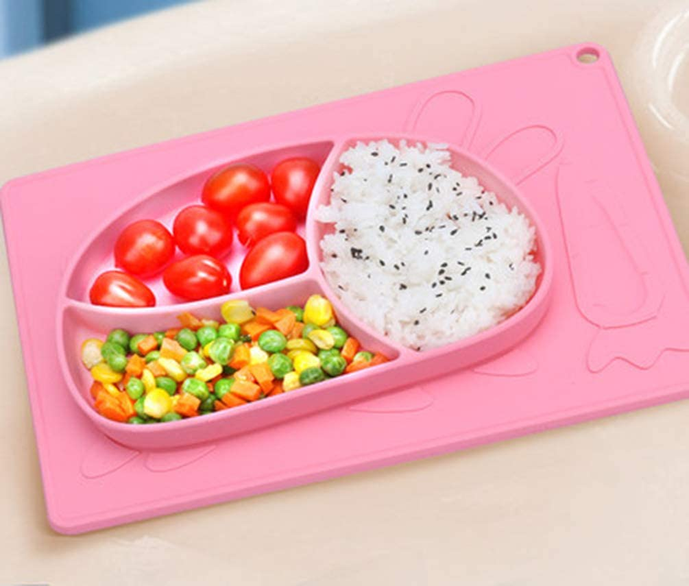 Watermelon Red Tonwhar Rabbit Silicone Suction Plate with Built-in Placemat for Toddlers Kids Baby and Infant BPA Free 3 Bowl Section Feeding Mat for Toddlers