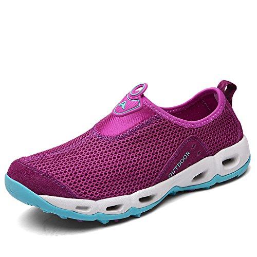 GOMNEAR Casual Women Walking Shoes Slip-On Mesh Lightweight Breathable Sneakers by Purple