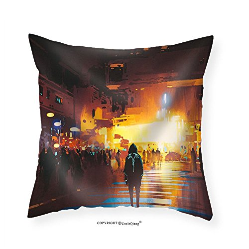 VROSELV Custom Cotton Linen Pillowcase Man Standing on Street Looking at Futuristic City at Night Sci-Fi Concept Illustration Painting - Fabric Home Decor 22