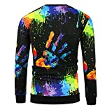 Meolin men's printing T-shirt Hipster 3D Print T-Shirt Long Short Sleeve T-Shirt,Black long-sleeved,As Description