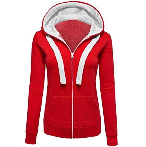 矢縞模様の解明Nicellyer Women Collision Color Zipper Vogue Long-Sleeved Hooded Outwear
