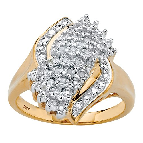 10k Diamond Cluster Ring - 10K Yellow Gold Round Diamond Cluster