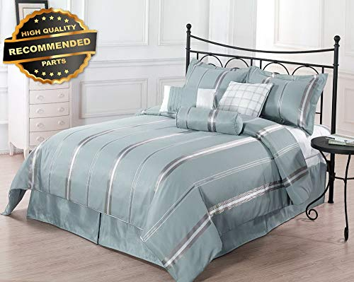 Gatton Premium New FAL SA- Park Avenue 7pc Comforter Set Blue, Gold Bed Cover Full,Queen, | Style Collection Comforter-311012342