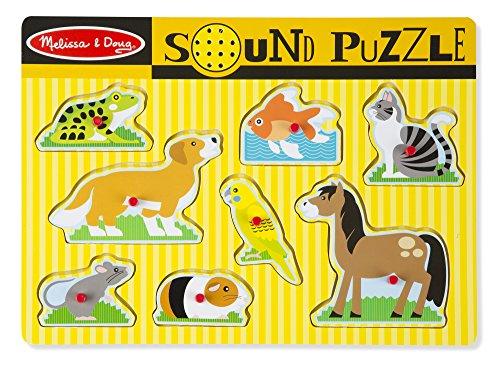 Melissa & Doug Rompecabezas de Mascotas con Sonido - Rompecabezas de Madera con Clavijas y Efectos de Sonido (8 piezas)