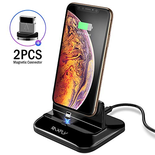 RAXFLY Magnetic Dock Charger with 2PCS Removable Magnetic Connector Desktop Charging Station Docking Cradle Compatible for iPhone Xs max X XR 8 7 6 6s Plus 5S 5C SE