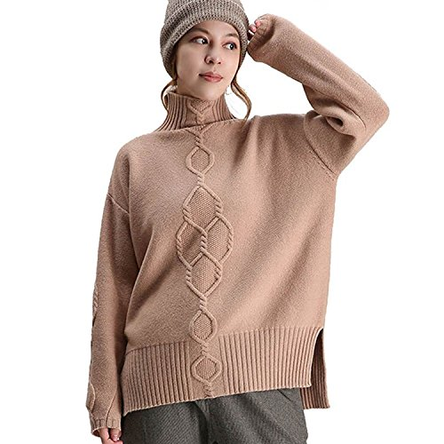 VenuStar Women's Korean Design Turtle Cowl Neck Ribbed Cable Knit Long Sweater Jumper (M, (Autumn Cashmere Cowl Neck Sweater)