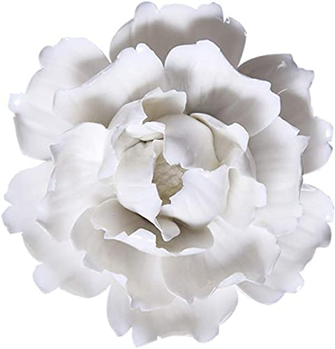 Insiswiner Handmade Ceramic Flowers Sculpture Home Hanging 3D Wall Art Decor Decoration White Peony 5.9
