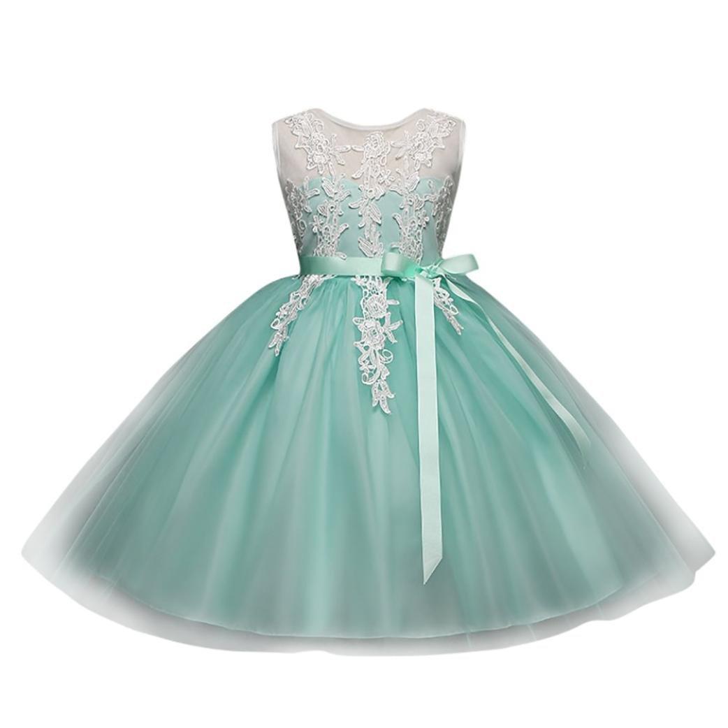 BYSTE Bambino Ragazze Ricamo Senza Schienale Cerniera Vestito Tutu Vestito da Principessa Compleanno Nozze Damigella d'Onore Formale Vestito Outfits Abiti