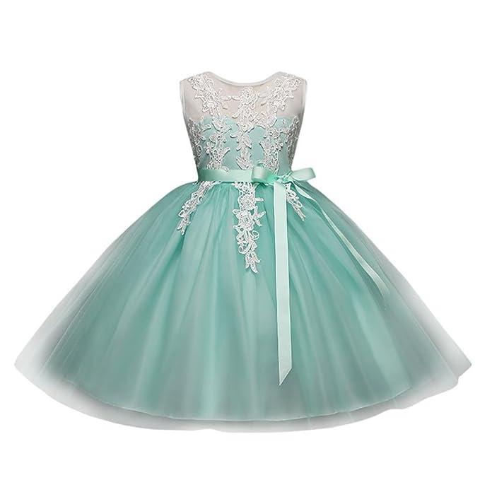 BYSTE Bambino Ragazze Ricamo Senza Schienale Cerniera Vestito Tutu Vestito  da Principessa Compleanno Nozze Damigella d 8c5141457d0