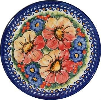 "Polish Pottery Dessert or Breakfast Plate - ""Eva's Collection"" Flower Field"