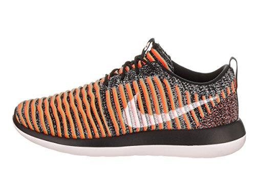 Nike Vrouwen Roshe Twee Flyknit 365 Enkel-high Fashion Sneaker Zwart / Wit / Helder Mango