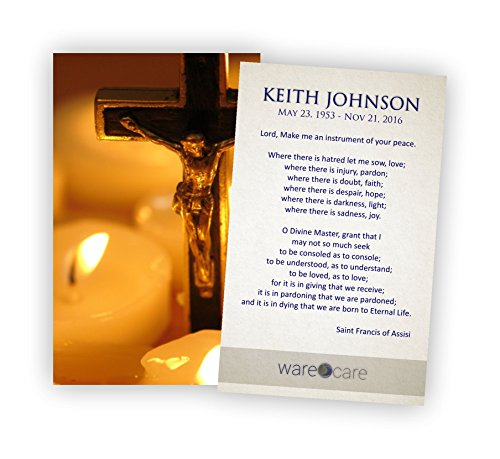 Personalized Funeral Service Prayer Cards (Pack of 50) (Service Prayer Card)