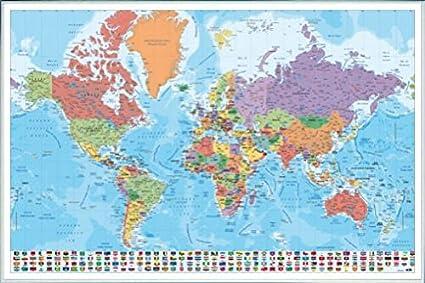 Amazon world maps poster and frame plastic mapa mundo es world maps poster and frame plastic mapa mundo es fisico politico 36 gumiabroncs Gallery