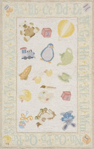 Momeni Rugs LMOINLMI-2PYL4060 Lil' Mo Classic Collection, Kids Themed 100% Cotton Hand Hooked Area Rug, 4' x 6', Pale Yellow - Damask Loop Hooked Rug