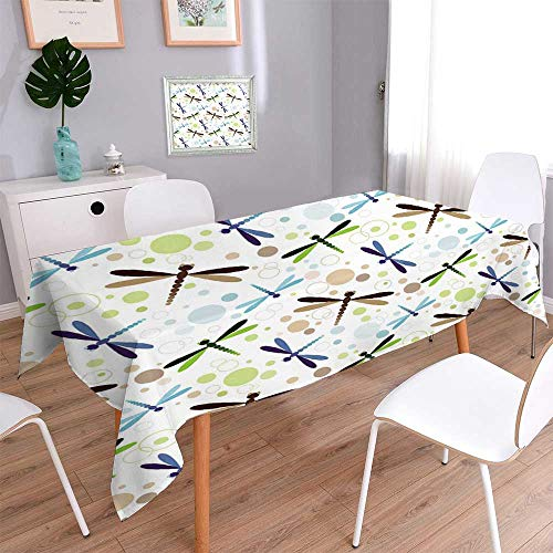 PINAFORE HOME Linen Square Tablecloth Seamless White with Colorful Dragonflies and Balls Linen Cotton Tablecloths for Kitchen Room/Rectangle, 60x 84 Inch