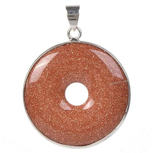FidgetKute 30mm Gemstone Round Donut Stone Pendant Bead for Jewelry Making 1.2