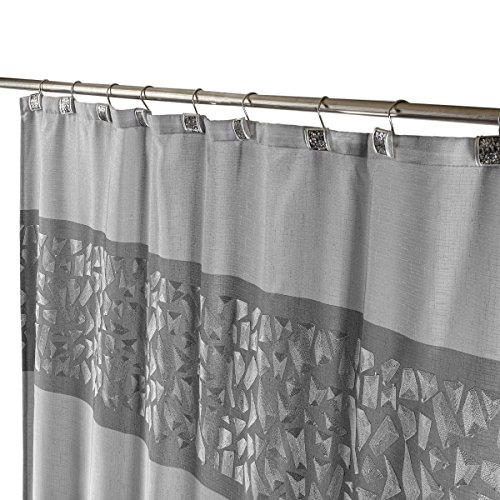 "Brushed Nickel Decorative Fabric Shower Curtain with Free Magnetic PEVA Liner 72"" x 72"" Heavy Duty, Mildew Resistant & Rust Proof Soft Touch Waterproof Polyester Bathroom Curtain (Silver)"