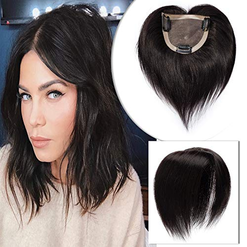 6 Inch Mono Base Human Hair Topper for Women Clip in Remy Hair Toupee Top Hairpiece for Thinning Hair #1B Natural Black