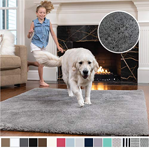 Gorilla Grip Original Faux-Chinchilla Area Rug, 5x7 Feet, Super Soft and Cozy High Pile Washable Carpet, Modern Rugs for Floor, Luxury Shag Carpets for Home, Nursery, Bed and Living Room, Dark Gray (X Rugs 12 Area 7)