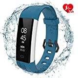 Fitpolo Fitness Tracker - Slim Waterproof Smart Watch with Heart Rate Monitor, Activity Tracker with Step&Calorie Counter, Sleep Monitor,Pedometer, Call/SNS Remind for Kids Women Men (Blue)