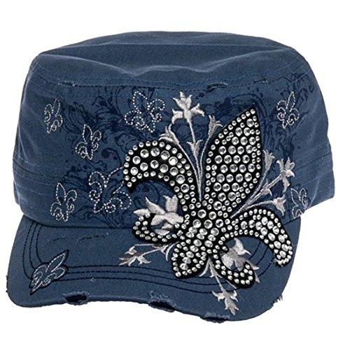 Rhinestone Fleur De Lis Fashion Womens Cadet Distressed Bling Hat Cap (Denim Blue) ()