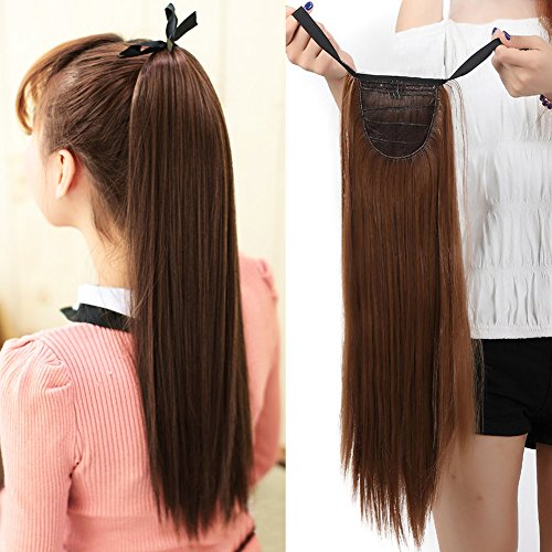 Binding Tie up Synthetic Ponytail Heat Resistant One Piece Drawstring Pony Tail Long Straight Soft Silky for Women Lady Girls 22'' / 22 inch (light (Sexy Ponytails)