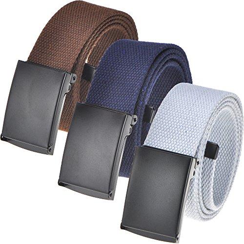 Men's Casual Outdoor Belt 16 colors, Canvas Web belt Waist Flip-Top Solid Black Buckle Up to 56