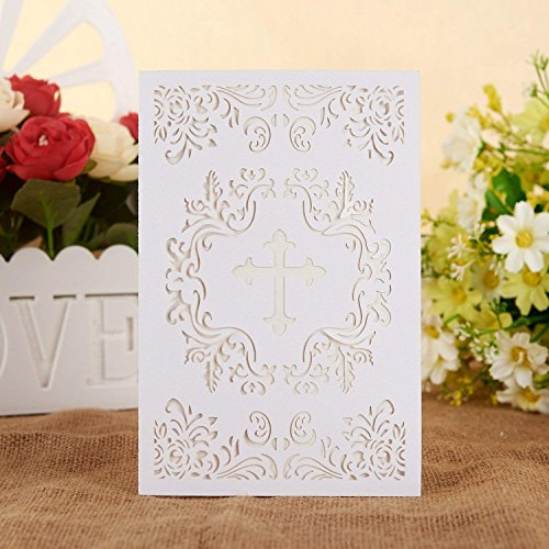 Religious Printable Invitations (25PCS Elegant Baptism Invitations, Large 4.7 x 7 Cards Fill In Blank Christening Invite , with Ivory Inside Paper for Christening Party Celebration, Religious Ceremony, Christian Dedication (White))